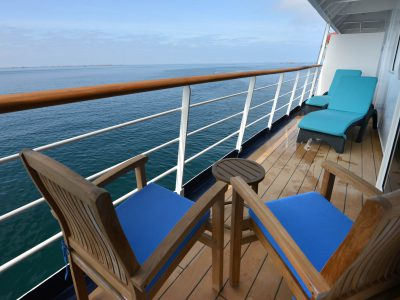 Owner's Suite cabin balcony on board Hebridean Sky. Photography provided by Polar Latitudes.