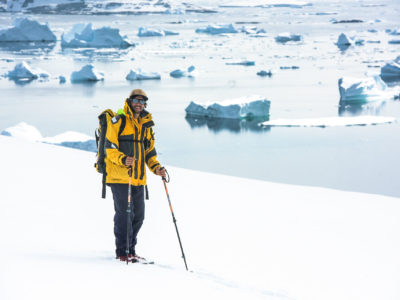 Antarctica21 expedition guide, snowshoeing instructor, photography by Nicolas Gildemeister